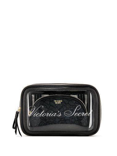 Trio-de-Cosmetiqueras-Negro-con-Encaje-Victoria-s-Secret
